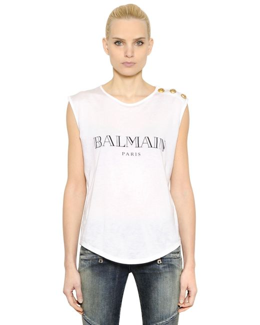 Balmain logo printed cotton t shirt in black white black for Balmain white logo t shirt