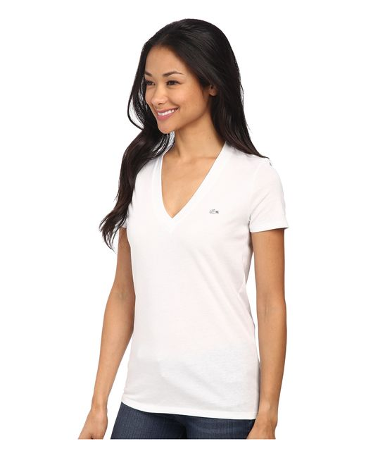 Lacoste | White Short Sleeve Cotton Jersey V-neck Tee Shirt | Lyst
