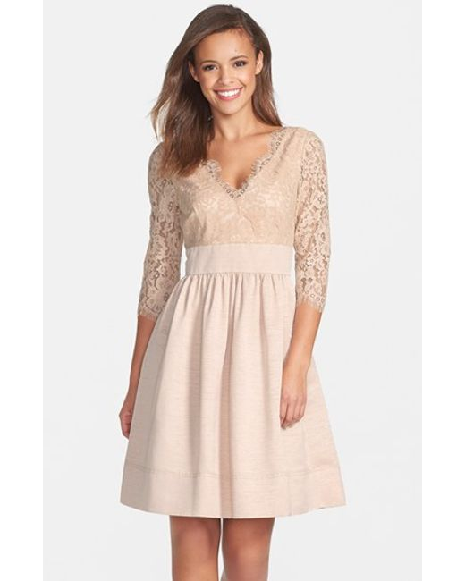 Eliza J   Natural Lace & Faille Dress   Lyst