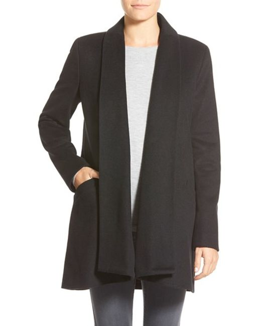 Calvin Klein | Black Wool Blend Clutch Coat | Lyst