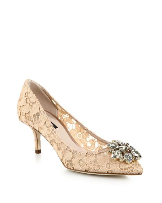 Dolce & Gabbana | Beige Embellished Lace Point-toe Pumps | Lyst