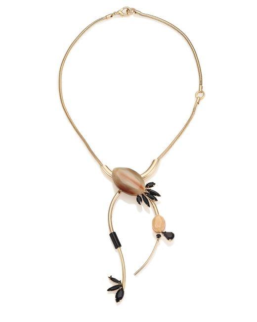 Marni | Metallic Asymmetrical Horn & Crystal Statement Necklace | Lyst