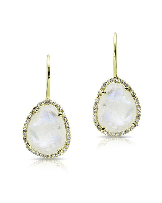 Anne Sisteron | White 14kt Yellow Gold Moonstone Diamond Organic Shape Earrings | Lyst