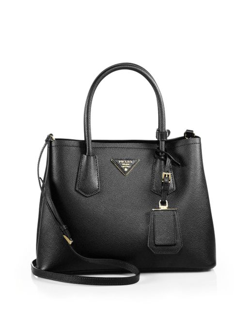 Prada | Black Saffiano Cuir Small Double Bag | Lyst