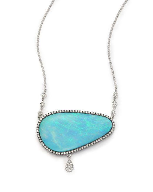 Meira T   Blue Boulder Opal, Diamond & 14k White Gold Charm Pendant Necklace   Lyst