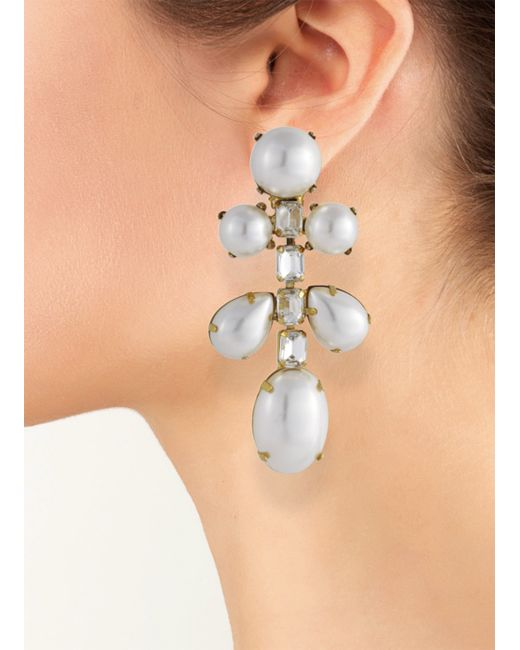 Kenneth Jay Lane | White Pearl Drop Clip Earring | Lyst