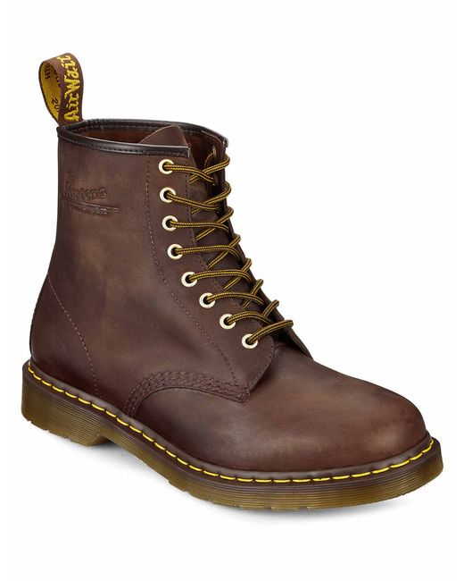 Dr martens distressed leather combat boots in brown for men lyst