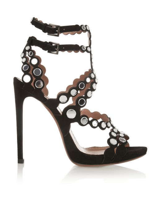 Alaïa | Black Mirror-Embellished Laser-Cut Suede Sandals | Lyst