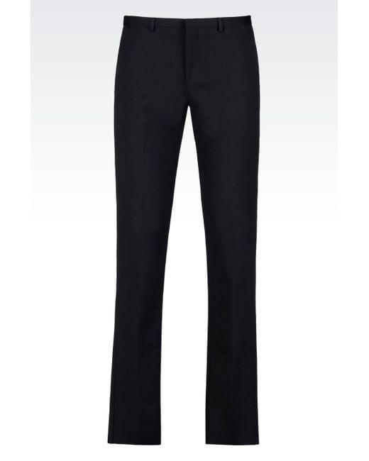 Emporio Armani | Blue Straight Leg Trouser for Men | Lyst