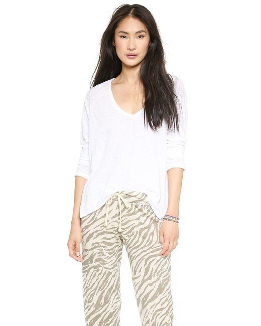 Sundry | White Boxy Long Sleeve V Neck Tee | Lyst