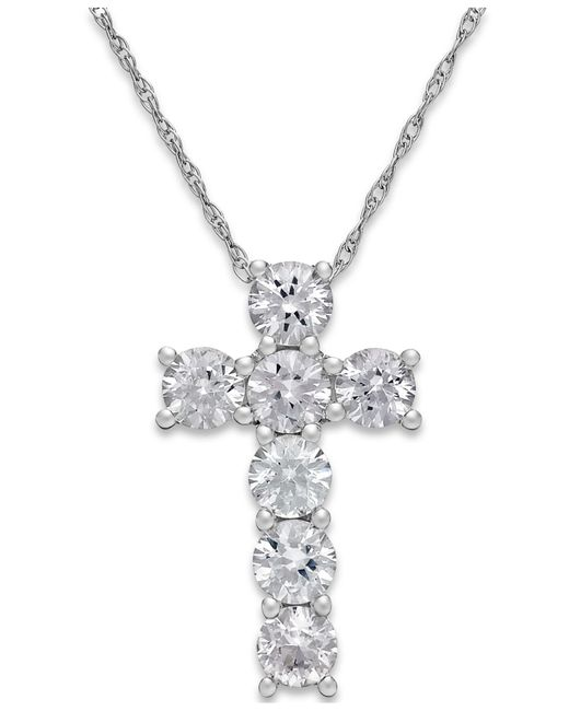 Macy's | White Sapphire Cross Pendant Necklace In 14k White Gold (1-1/4 Ct. T.w.) | Lyst