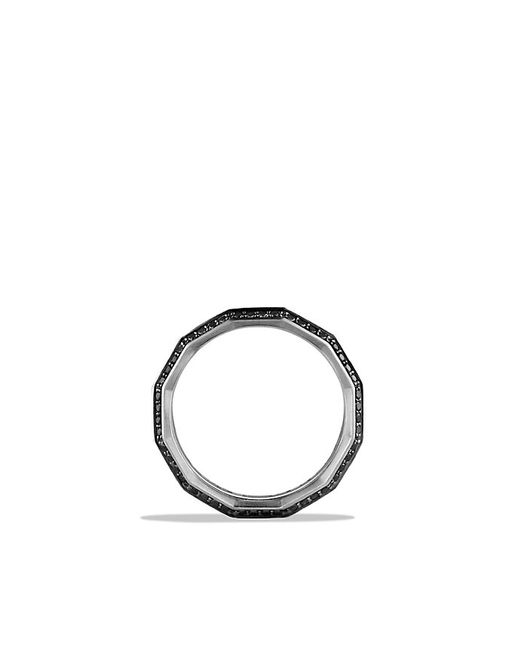David Yurman | Faceted Metal Band Ring With Black Diamonds | Lyst