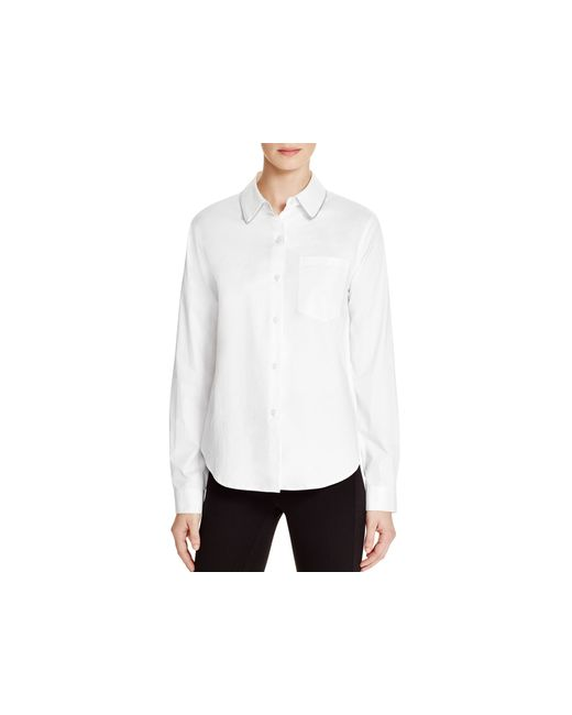 Dkny Zip Collar Button Down Shirt In White Lyst