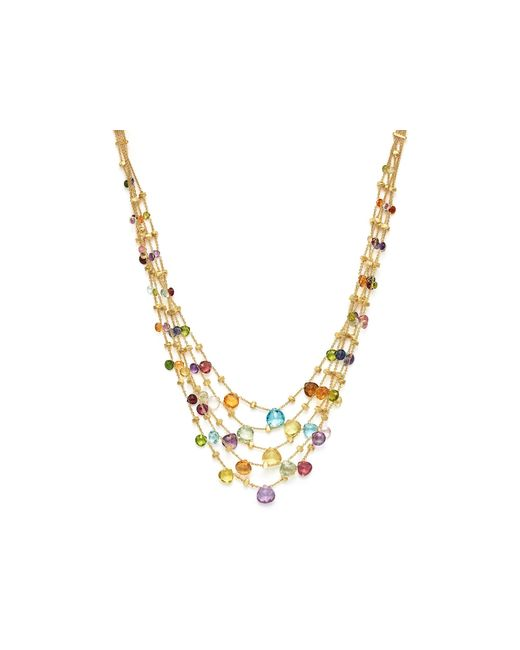 Marco Bicego | Multicolor 18k Yellow Gold Paradise Five Strand Mixed Stone Necklace, 16.5"