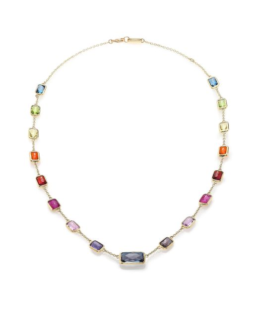 Ippolita | Multicolor Rock Candy Fall Rainbow Semi-precious Multi-stone & 18k Yellow Gold Station Necklace | Lyst