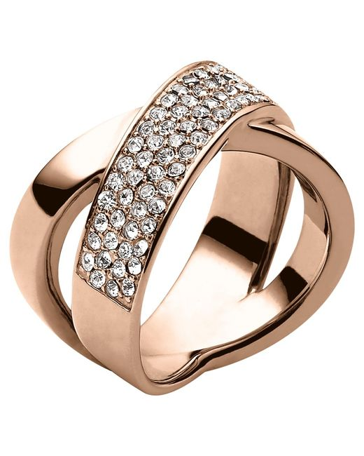 Michael Kors | Metallic Pave Crystal Crossover Ring | Lyst