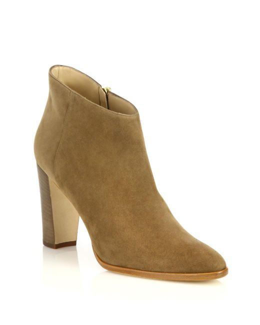 Manolo Blahnik | Natural Brusta Suede Booties | Lyst