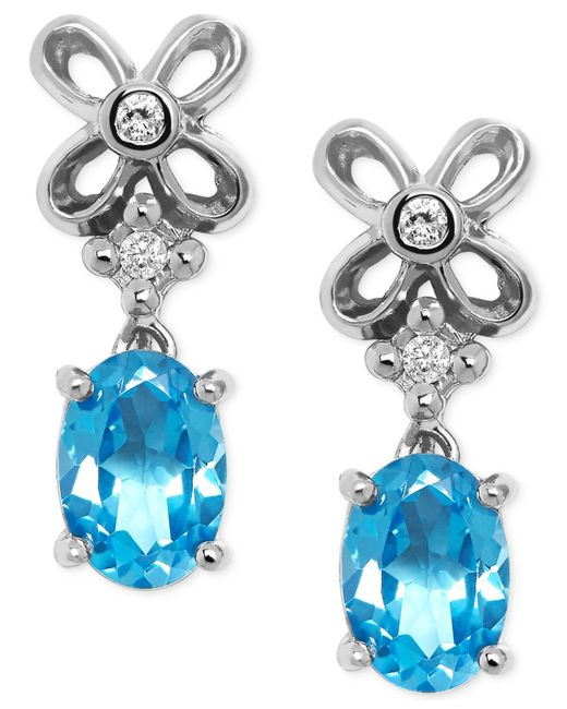 Macy's | Blue Topaz (7/8 Ct. T.w.) And Diamond Accent Drop Earrings In Sterling Silver | Lyst