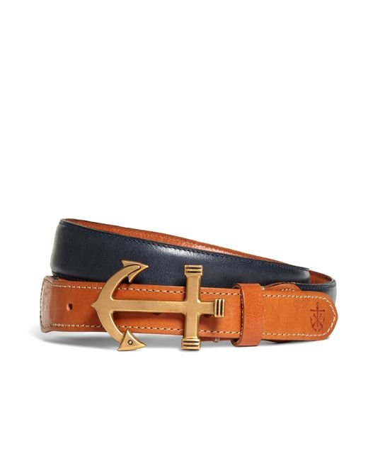 Brooks Brothers   Blue Kiel James Patrick Leather Anchor Buckle Belt for Men   Lyst