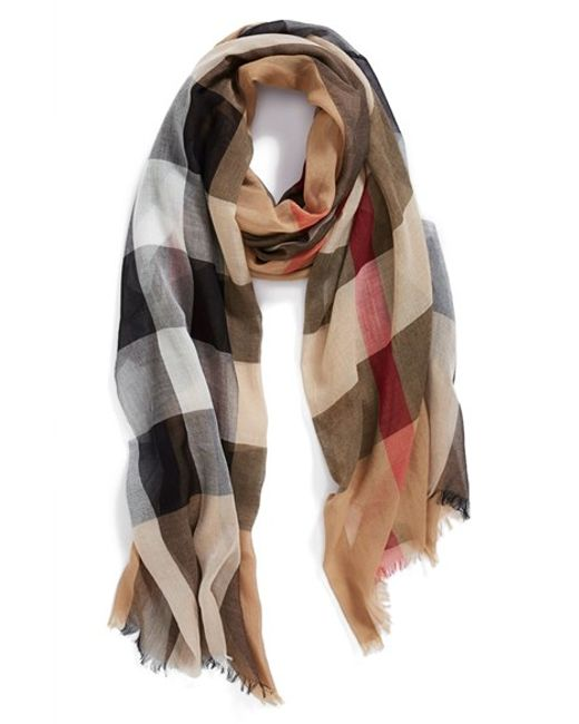 Burberry | Natural Brit Sheer Mega Check Scarf | Lyst
