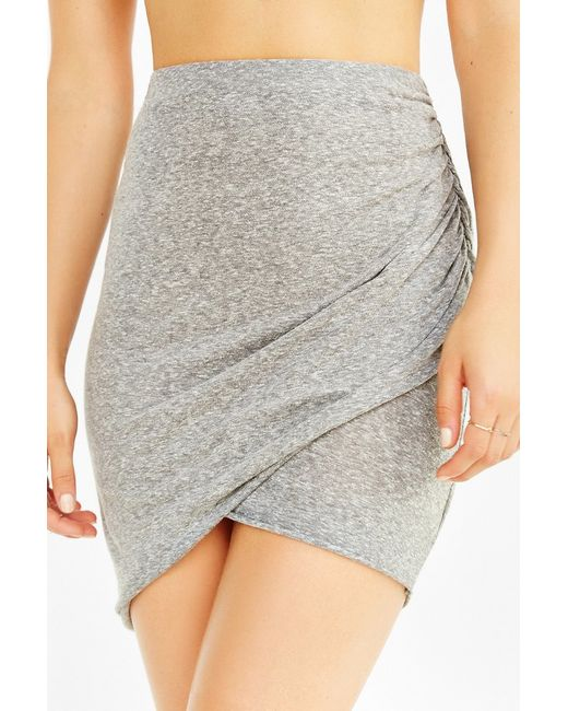Truly Madly Deeply | Gray Twist-front Midi Skirt | Lyst