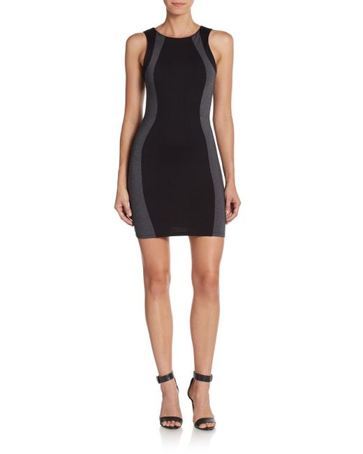 David Lerner | Black Colorblock Body-con Dress | Lyst