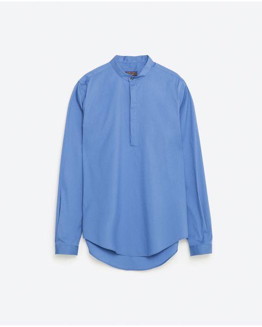 Zara Super Slim Fit Mandarin Collar Shirt In Multicolor