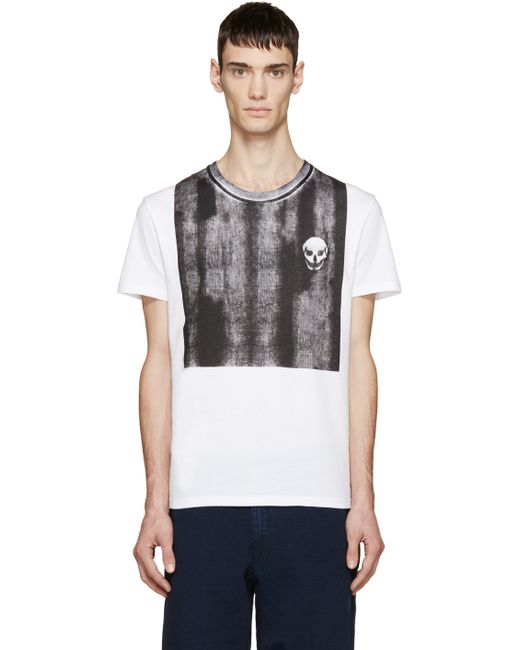 Alexander McQueen | White Degrade Skull Logo T-shirt for Men | Lyst