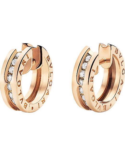 BVLGARI | Metallic B.zero1 18kt Pink-gold And Diamond Small Hoop Earrings | Lyst