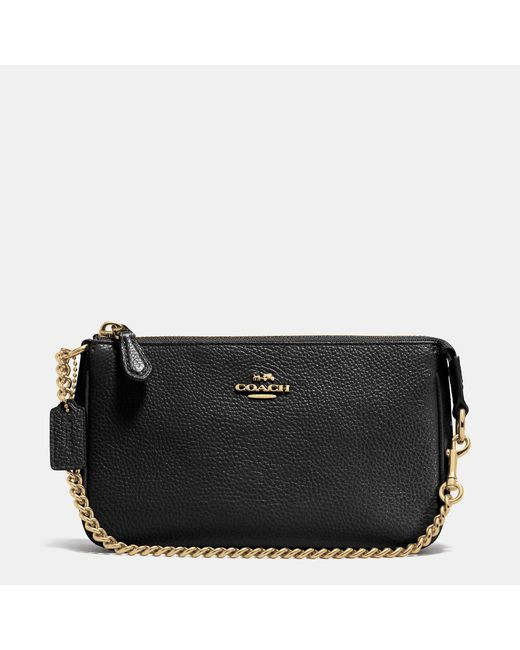 COACH | Black Nolita Wristlet 19 In Pebble Leather | Lyst