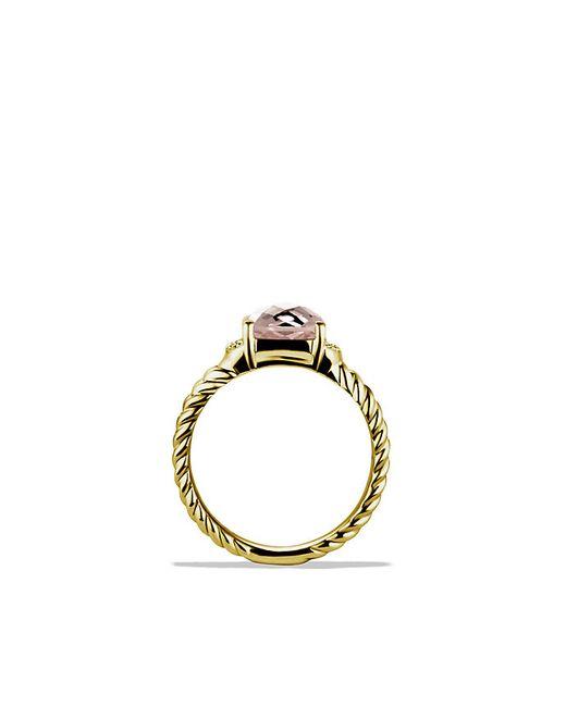 David Yurman | Yellow Petite Wheaton Ring With Morganite And Diamonds In 18k Gold | Lyst