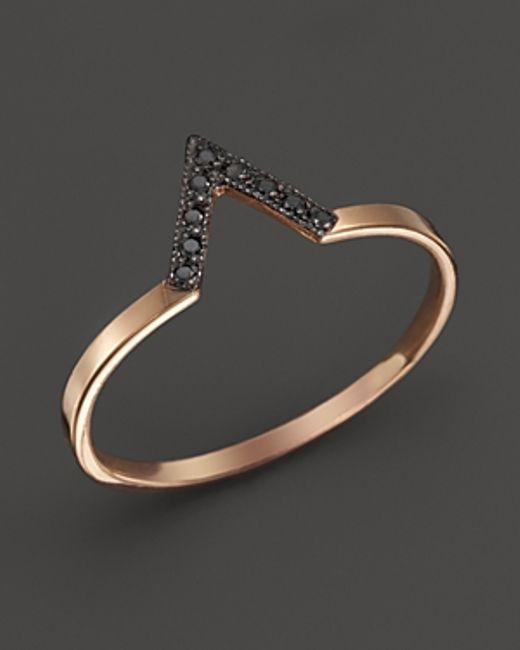 Zoe Chicco | Pink 14k Rose Gold Black Pave Diamond Small V Ring | Lyst