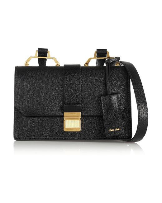 Miu Miu | Black Madras Small Textured-leather Shoulder Bag | Lyst
