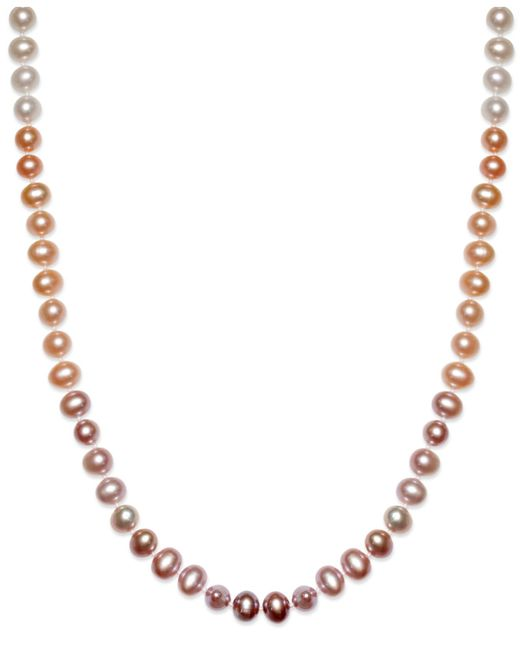 Macy's | Multicolor Multi-colored Cultured Freshwater Pearl Necklace In Sterling Silver (7mm) | Lyst