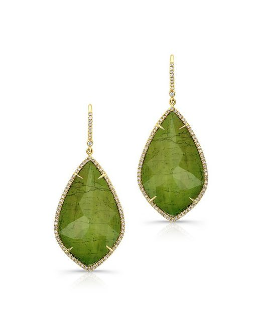 Anne Sisteron | 14kt Yellow Gold Yellow Green Tourmaline Diamond Rose Cut Earrings | Lyst