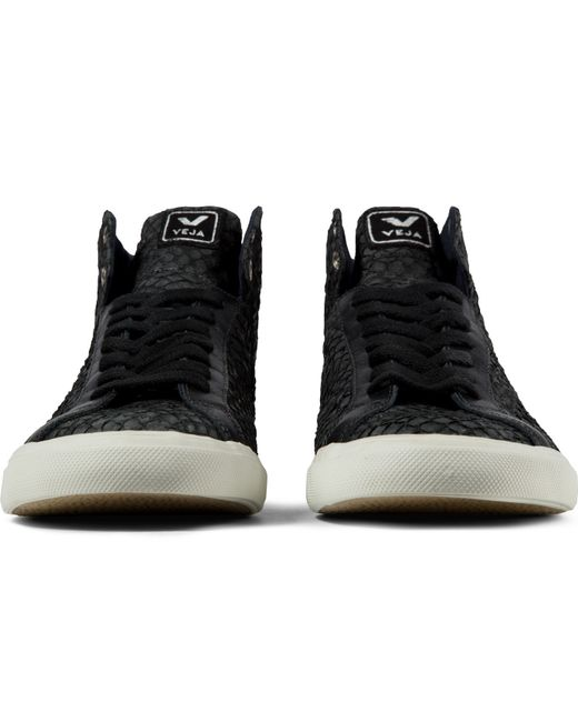 veja black esplar high top leather shoes in black for