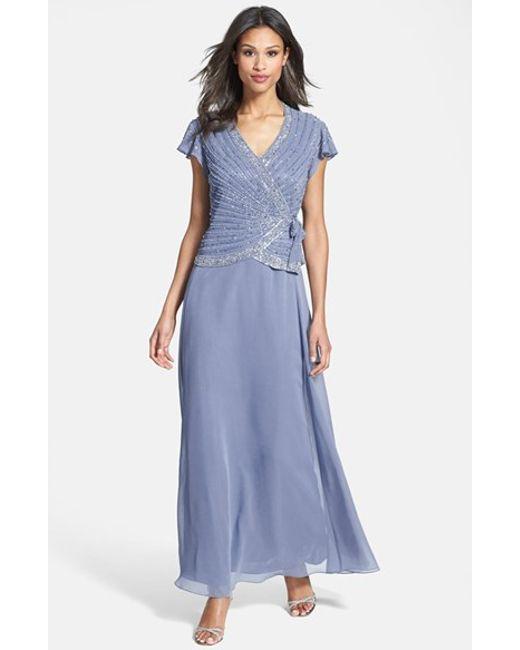 J Kara Embellished Mock Two Piece Gown In Blue Dusty Blue