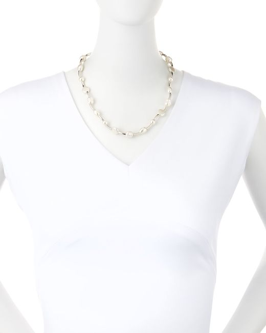 Majorica | White Sterling Silver Baroque & Coin Pearl Necklace | Lyst