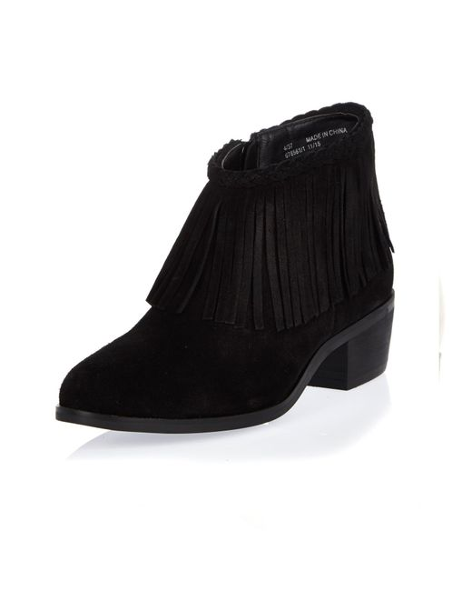 river island black fringed ankle boots in black lyst