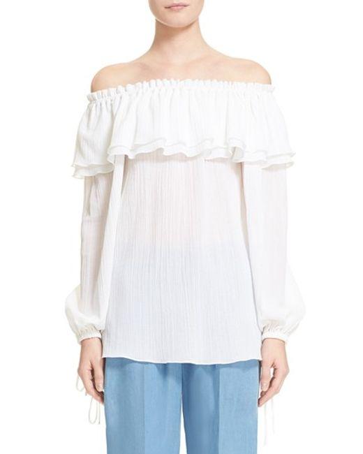 Michael Kors Off Shoulder Peasant Blouse In White (OPTIC