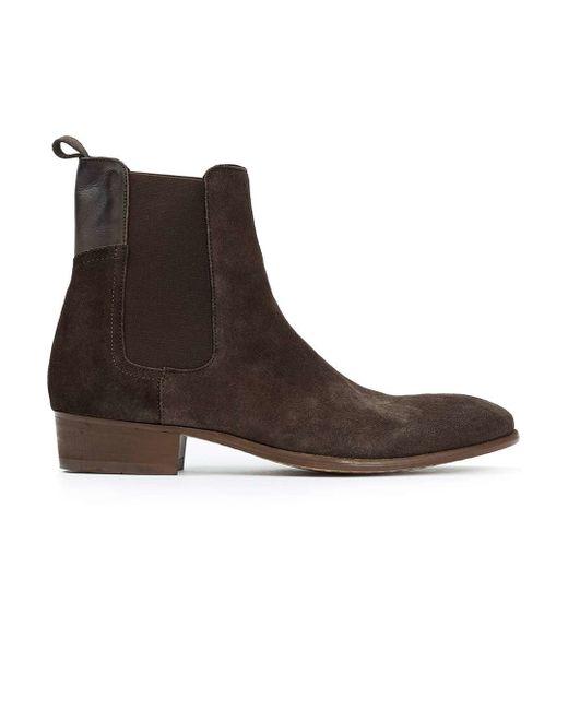 topman hudson brown suede chelsea boots in brown lyst