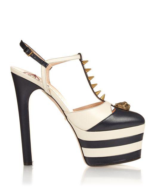 Gucci Angel Spike Embellished Leather Platform Sandals In