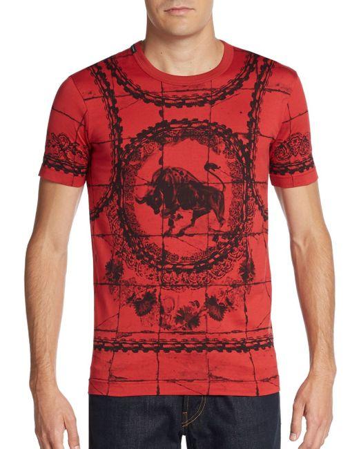 Dolce & Gabbana | Red Mosaic Bullfight Cotton T-shirt for Men | Lyst