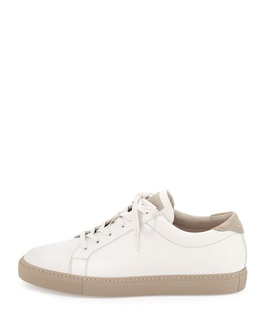 brunello cucinelli leather lace up sneaker in white lyst