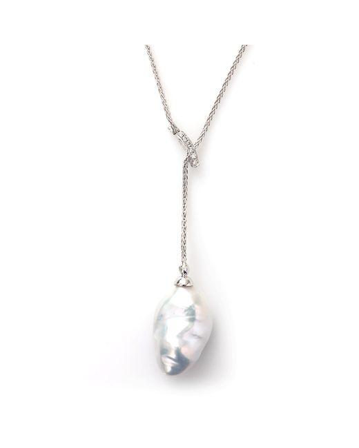 Yvel   Metallic White Fresh Water Keshi Pearl Necklace   Lyst