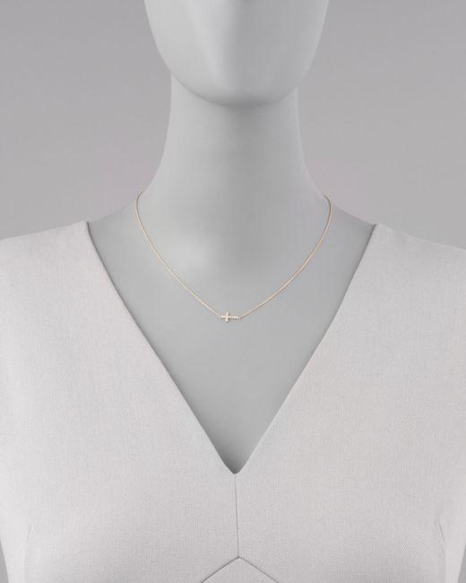 Sydney Evan   Metallic Small Gold Pave Diamond Cross Necklace   Lyst