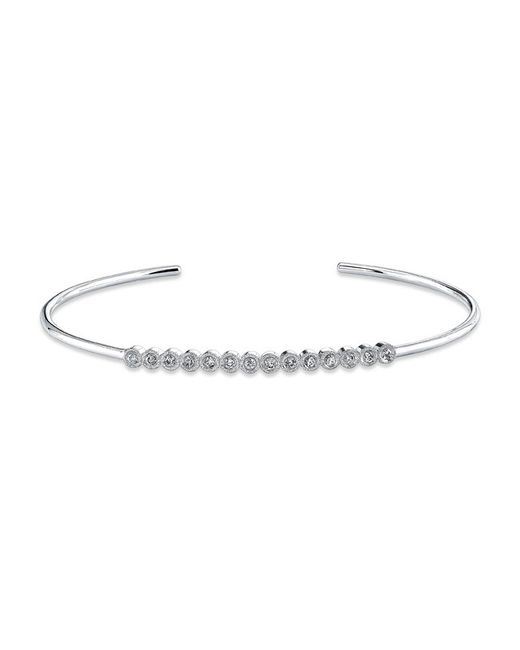 Anne Sisteron | Metallic 14kt White Gold Bezel Set Diamond Cuff | Lyst
