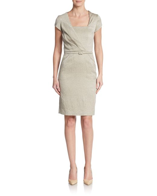 Oscar de la Renta   Brown Textured Belted Dress   Lyst