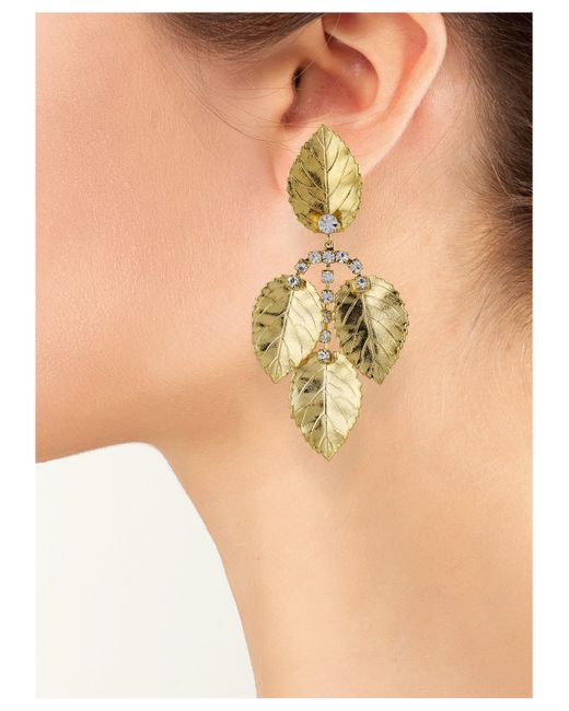 Kenneth Jay Lane | Metallic Leaf Drop Clip Earring | Lyst