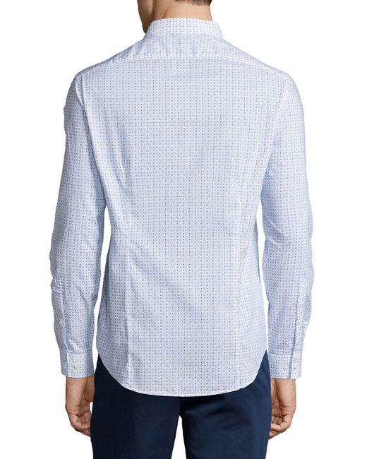 Michael kors printed slim fit button down shirt in blue for Slim fit white button down shirt